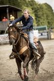 Rodeo competition in ranch roping Stock Photos