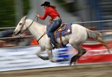 Rodeo: Corsa del barilotto delle signore Fotografia Stock Libera da Diritti