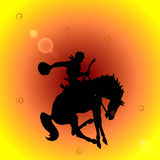 Rodeo cowboy. Illustration of a rodeo cowboy riding a saddled horse royalty free illustration
