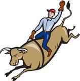 Rodeo-Cowboy-Bull-Reiten Retro Stockfoto