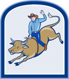 Rodeo Cowboy Bull Riding Cartoon Stock Photography