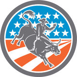 Rodeo Cowboy Bull Riding Flag Circle Retro Royalty Free Stock Photography
