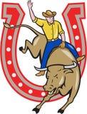 Rodeo Cowboy Bull Riding Horseshoe Cartoon Stock Images