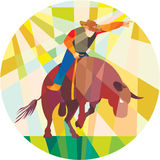 Rodeo Cowboy Bull Riding Pointing Low Polygon Stock Image