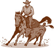 Rodeo cowboy horse cutting Stock Photo
