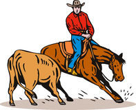 Rodeo cowboy horse cutting Royalty Free Stock Photo