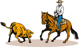Rodeo cowboy horse cutting. Vector art on the sport of rodeo isolated on white background Stock Photos
