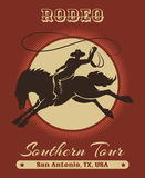 Rodeo Cowboy Poster. American Texas cowboy rodeo poster with retro typography. Free font used Stock Photography