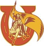 Rodeo-Cowboy-ReitenHorseWith Markierungsfahnen-Hufeisen stock abbildung