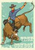 Rodeo Cowboy riding a bull, Retro style Poster. Stock Photography