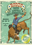 Rodeo Cowboy riding a bull, Retro style Poster. Stock Photos