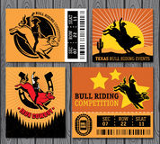 Rodeo Cowboy riding a bull, Retro style Poster. Set of vintage bull riding labels, badges and design elements Royalty Free Stock Photography
