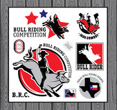 Rodeo Cowboy riding a bull, Retro style Poster. Set of vintage bull riding labels, badges and design elements Stock Image