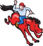 Rodeo Cowboy Riding Horse  Cartoon Stock Image