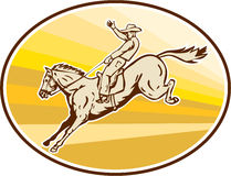 Rodeo Cowboy Riding Horse Oval Retro Royalty Free Stock Images