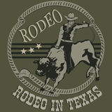 Rodeo cowboy riding a wild bull silhouette Stock Images