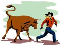 Rodeo cowboy running away Stock Photos