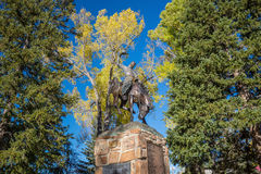 Rodeo Cowboy Sculpture in Jackson Town Square, Jackson Hole, Wyo Stock Image