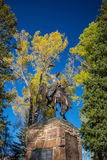 Rodeo Cowboy Sculpture in Jackson Town Square, Jackson Hole, Wyo Stock Photos