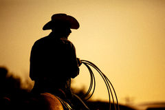 Rodeo cowboy silhouette. Cowboy with lasso silhouette at small-town rodeo. Note: added grain Royalty Free Stock Photography