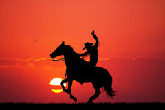 Rodeo cowboy at sunset. Illustration of Rodeo cowboy at sunset Stock Image