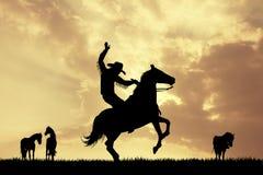 Rodeo cowboy at sunset. Illustration of Rodeo cowboy at sunset Stock Photo