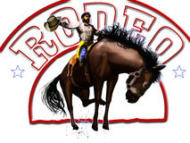 Rodeo cowboy and text royalty free illustration