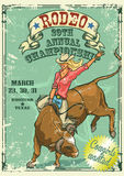 Rodeo Cowgirl riding a bull, Retro style Poster Stock Photos