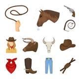 Rodeo, de pictogrammen van het de concurrentiebeeldverhaal in vastgestelde inzameling voor ontwerp Cowboy en materiaal vector het stock illustratie