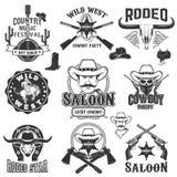 Rodeo del cowboy, etichette selvagge di ovest Partito di musica country royalty illustrazione gratis