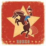 Rodeo di guida del cowboy con il cavallo Fotografie Stock Libere da Diritti