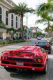 Rodeo drive, Beverly Hills, Ca. Luxury cars on Rodeo drive, in Beverly Hills, California Stock Images
