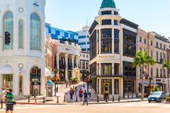 Rodeo Drive in Beverly Hills. BEVERLY HILLS, CA - Sept 8: Rodeo Drive in Beverly Hills on September 8, 2015. Rodeo Drive is an affluent shopping district known stock photos