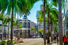 Rodeo Drive in Beverly Hills. BEVERLY HILLS, CA - September 8, 2015: Rodeo Drive in Beverly Hills; Rodeo Drive is an affluent shopping district known for stock photo