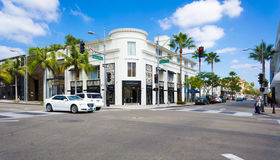 Rodeo Drive in Beverly Hills in Los Angeles, USA.  Stock Photos