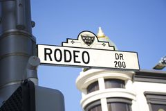 Rodeo Drive 200 block. Street sign at 200 Rodeo Drive in Beverly Hills California Stock Images