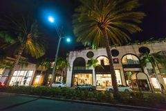 Rodeo Drive on a clear night. Beverly Hills, California Stock Photography