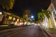 Rodeo Drive at night. Beverly Hills, California Stock Photos