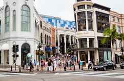 Rodeo Drive. People shoping on Rodeo drive, Beverly Hills, Los Angeles, California Stock Images