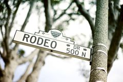 Rodeo Drive Sign. Rodeo Drive Street Sign - Rodeo Drive Pole Sign. Beverly Hills, California USA Royalty Free Stock Image