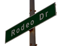 Rodeo Drive sign in Beverly Hills California. The Famous Rodeo Drive sign in affluent Beverly Hills California over white background Stock Photography