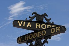 Rodeo Drive sign by Hollywood  Stock Photo