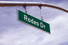 Rodeo Drive Street Sign In Beverly Hills, CA. Overhead Rodeo Drive street sign in Beverly Hills, California royalty free stock photo