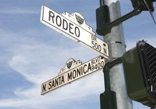 Rodeo Drive Street Sign In Beverly Hills, CA. Rodeo Drive and Santa Monica Boulevard street signs in Beverly Hills, California. Beverly Hills is one of the stock image