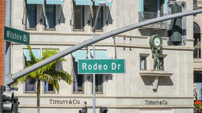 Rodeo Drive street sign in Beverly Hills - LOS ANGELES - CALIFORNIA - APRIL 20, 2017 Royalty Free Stock Photos
