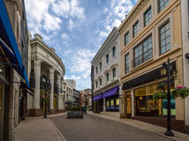 Rodeo Drive Street with stores in Beverly Hills - Los Angeles, California, USA. Rodeo Drive Street with stores in Beverly Hills in Los Angeles, California, USA royalty free stock photo