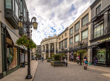 Rodeo Drive Street with stores in Beverly Hills - Los Angeles, California, USA. BEVERLY HILLS, USA - January 07, 2017: Rodeo Drive Street with stores in Beverly Stock Photography