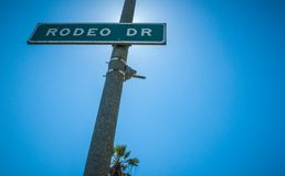 Rodeo Drive Strret sign in Beverly Hills. Sunlight 2013 Royalty Free Stock Photos