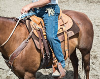 Rodeo event cowboy. Cowboy and horse in rodeo Royalty Free Stock Photo