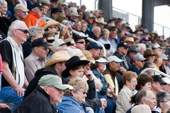 Rodeo fans. APACHE JUNCTION, AZ - FEBRUARY 26: Rodeo fans watch the action at the Lost Dutchman Days rodeo on February 26, 2010 in Apache Junction, Arizona stock photos